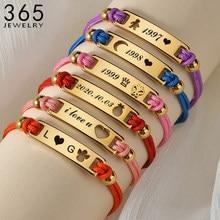 Personnalisable gravure nom la corde chaîne Bracelet acier inoxydable lettre personnalisé or enfant Bracelet pour fille bijoux cadeau