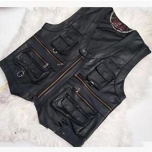 Image 2 - 2020 New gentlement leather vest male slim commercial male leather vest sheepskin leather men vest waistcoat with many pockets