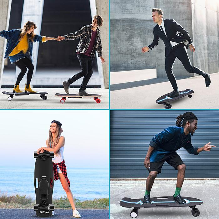 6-8Miles Remote Control Electric Skateboard 12 MPH Top Speed 350W 8 Miles Max Range 32.3x9.3x5.5inch 6