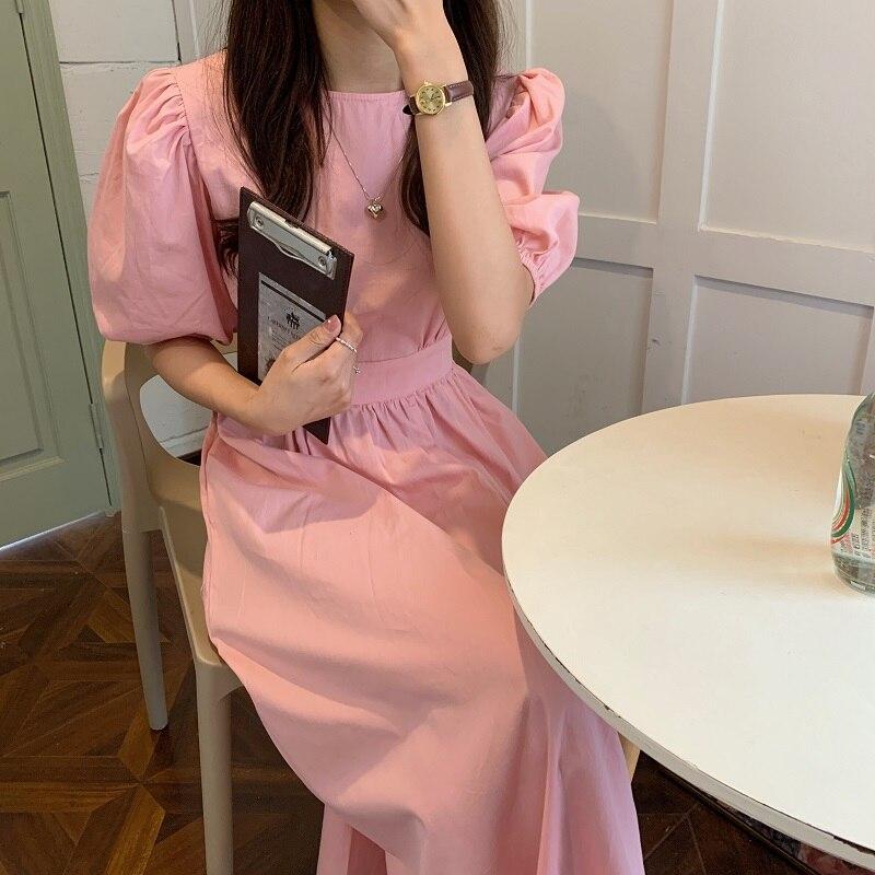H75d1dc0595a34344ae8069aef7c82f80X - Summer O-Neck Short Sleeves Elastic-Waist Calf Length Solid Dress