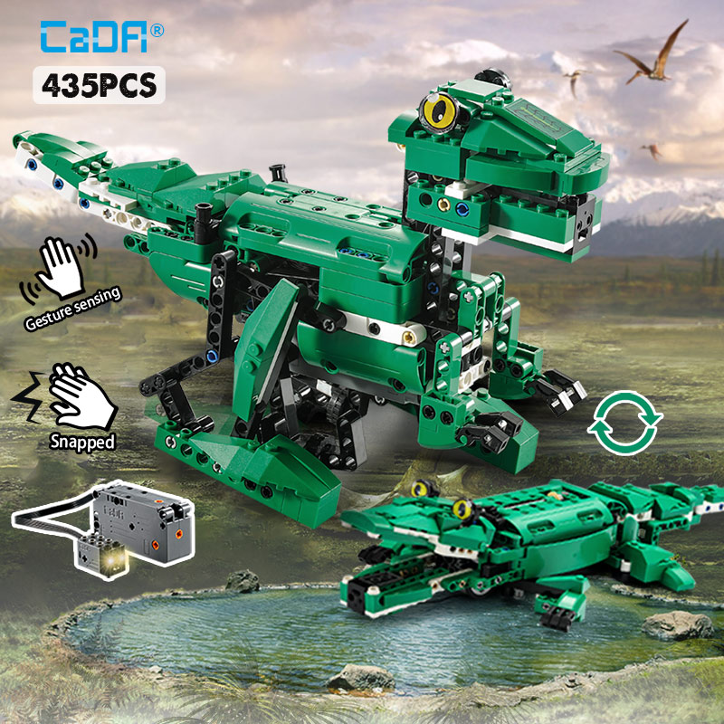 Cada 435PCS Electric Crocodile Jurassic World Park Dinosaurs MOC Building Blocks Legoing Technics Voice/Light Control Bricks Toy