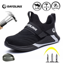 RAYDLINX 2020 New Breathable Mesh Safety Shoes Men Light Sneaker Indestructible Steel Toe Soft Anti-piercing Work Boots
