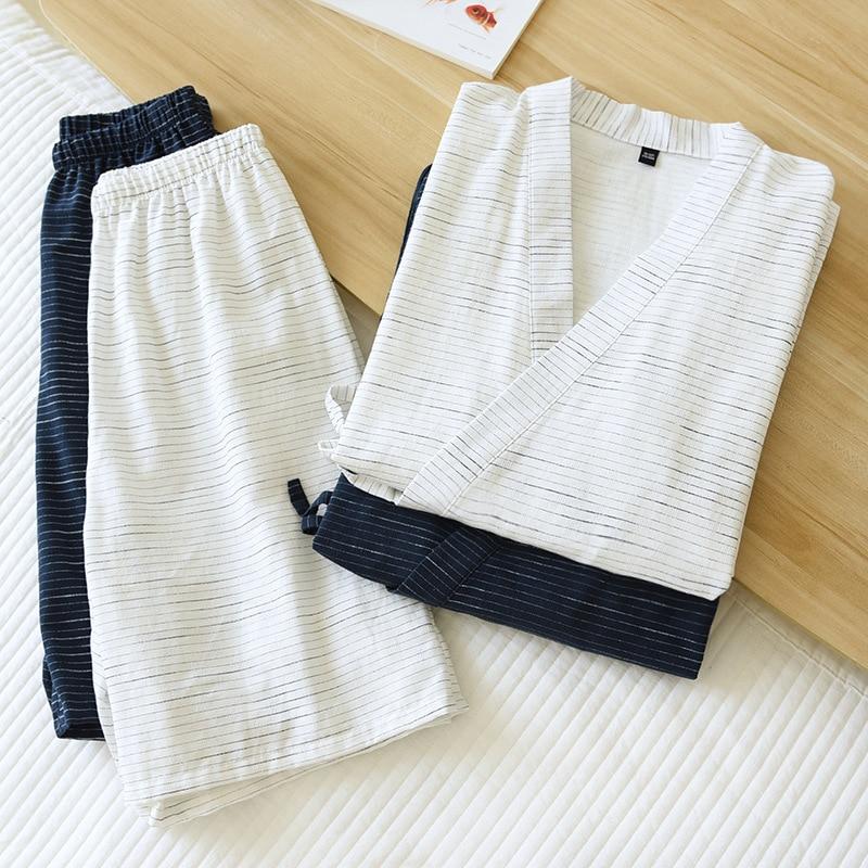 New Kimono Mens Bathrobes Short-sleeved Shorts Suit Men's Pajamas Two-piece Summer Cotton Yukata Plus Size Bathrobe Sleepwear