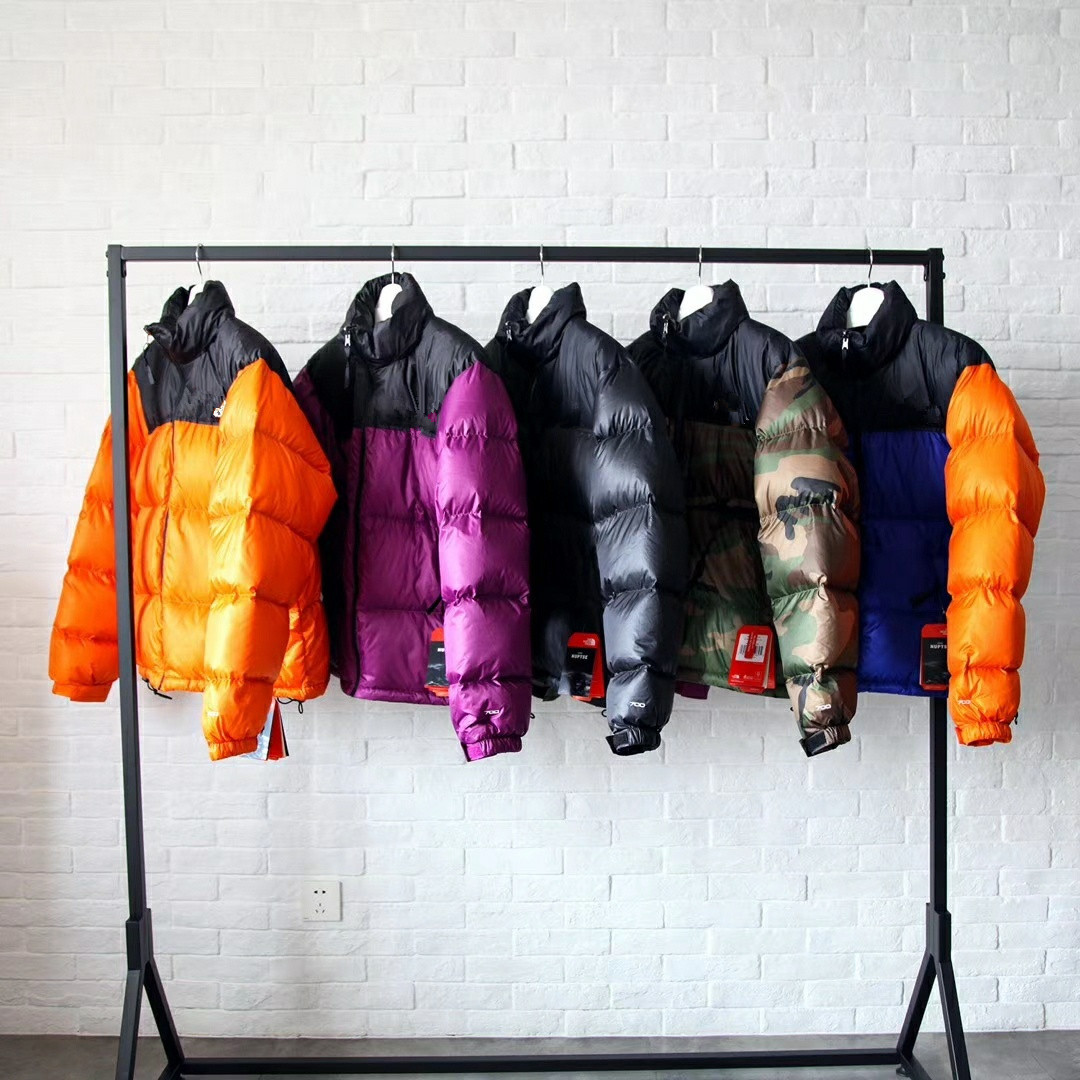 American Style Japanese 1996 Retro Nuptse Jacket 700 Embroidered Mixed Colors Joint Violence Orange Feather