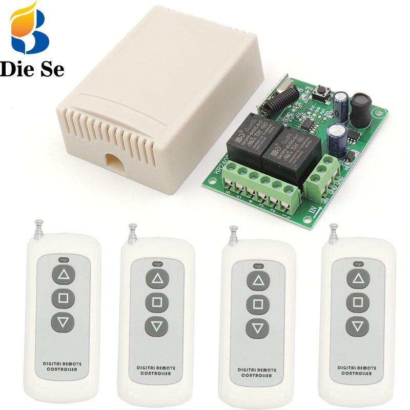 433mhz rf controle remoto sem fio interruptor inteligente dc 12v 24v 2ch rf relé receptor e transmissor para o motor da porta da garagem