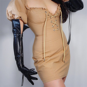 """Image 1 - טק ארוך כפפות פו עור PU 24 """"60 cm שחור ארוך במיוחד כסף רוכסן ציצית נשים של עור כפפות מסך מגע WPU172"""