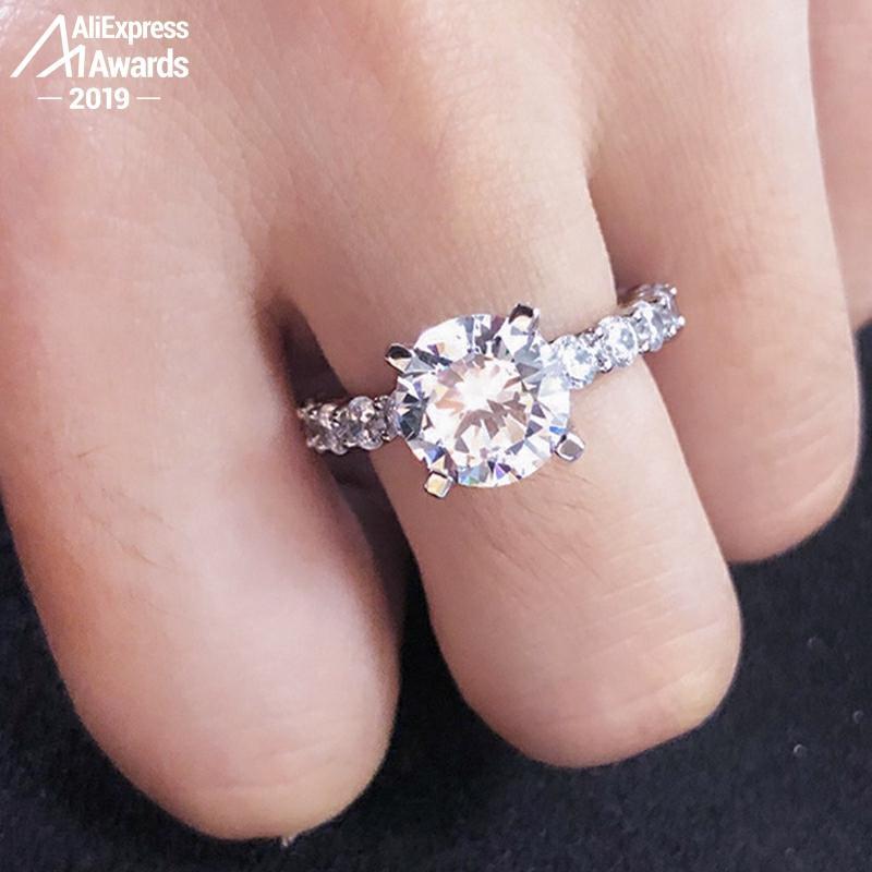 9*9mm Round Cut Diamond Ring Not Fake S925 Sterling Silver Fine Wedding Proposal Citrine Sapphire Amethyst Ruby Coloured Diamond