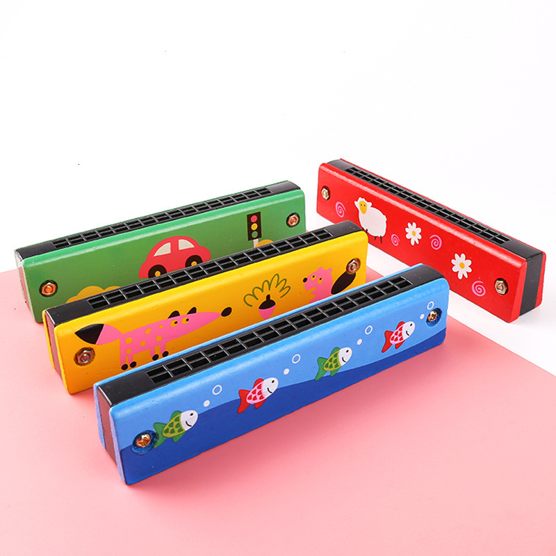 Cartoon Pattern Musical Wooden Harmonica 16 Holes Colorful Learning Educational Music Instrument Toys For Children Baby Kid Gift