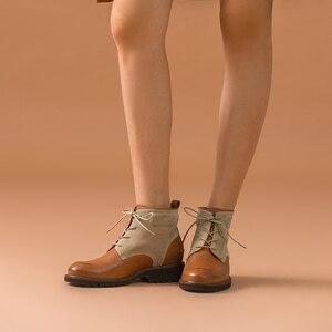 Image 5 - Beautoday ankle boots feminino genuíno couro de vaca dedo do pé redondo laço up cores misturadas outono inverno senhora moda botas feitas à mão 03644