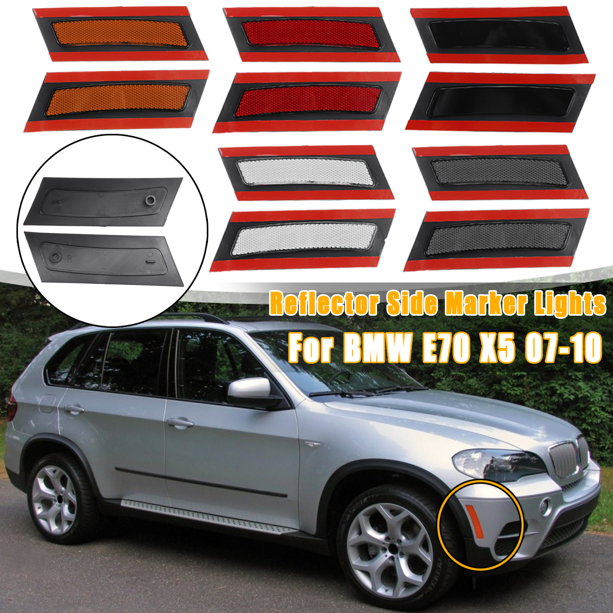 1 Pc Right Side Marker Warning Light Lamp Without Bulbs Yellow laiyoulaibao Front Bumper Reflector Light Cover for BMW X6 E71 E72 2007-2014