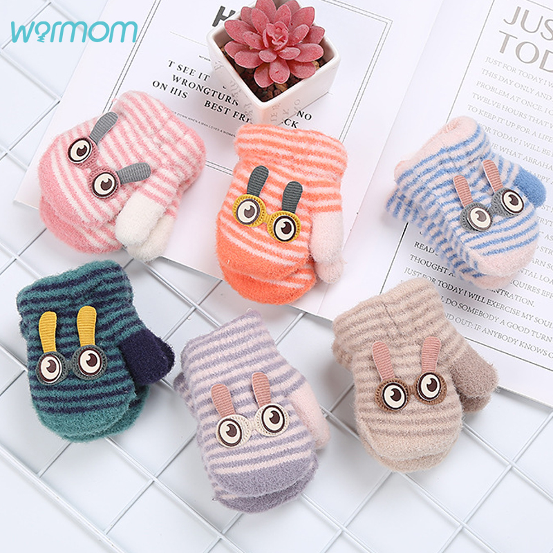 Toddler Kids Winter Warm Gloves Thicken Soft Plush Short Knitted Gloves With String Hang Neck Full Finger Mittens for 1-4Y Kids