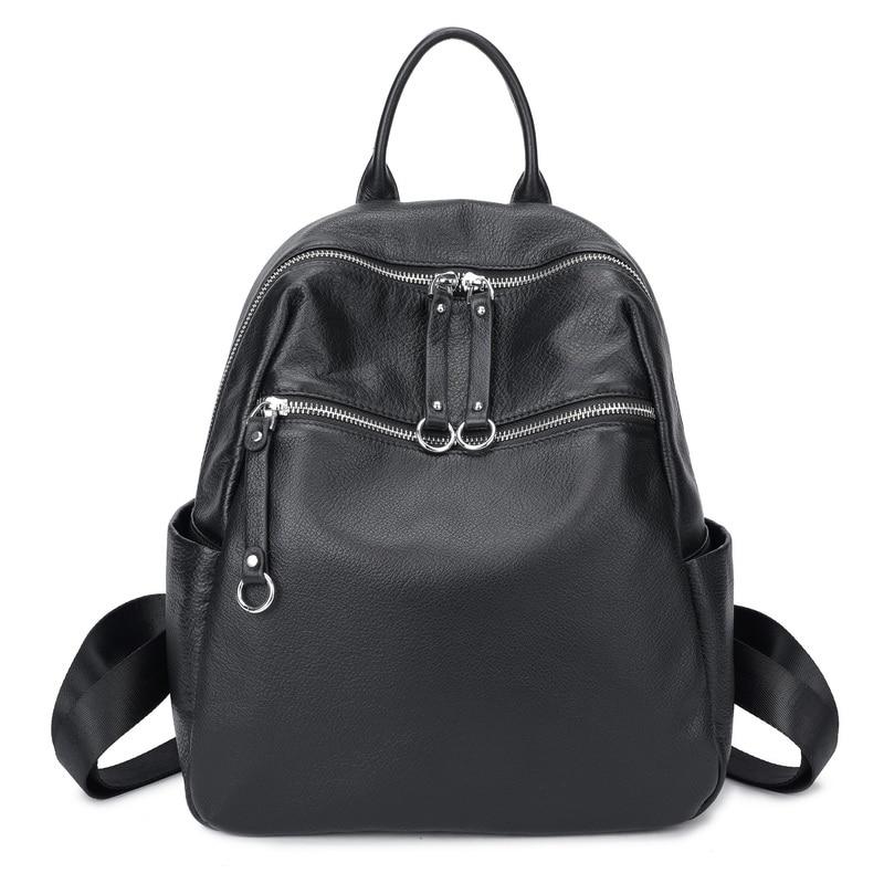100% Full Genuine Cow Leather Nature Calfskin Italian Top Grain Leather Women Backpack Female Cowhide Book Bag Ladies Backpacks