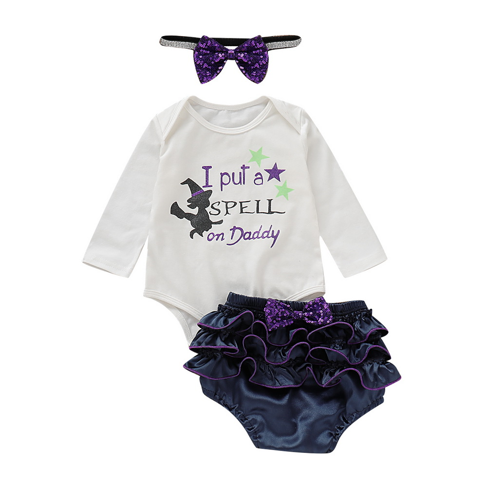 Halloween Witch Baby Girl Clothes Newborn Costumes Bodysuit+PP Shorts+Headband Toddler Costume D35
