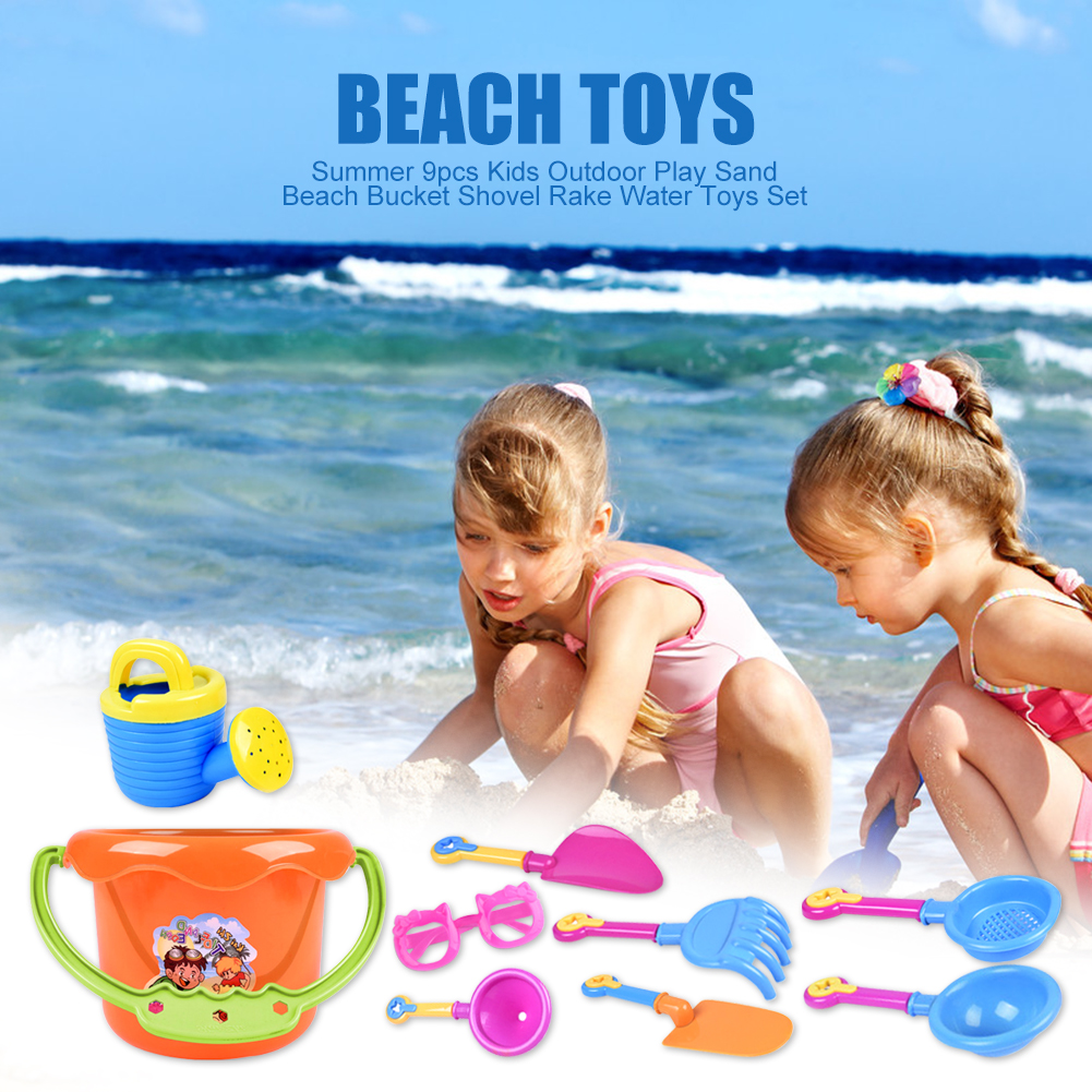 Summer Fun 9Pcs Toddler Kids Children Outdoor Play Sea Sand Beach Bucket Shovel Rake Toys Set Classic Baby Water Game