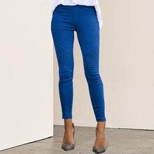 DIHOPE 2020 New Women Jeans Legging Blue Striped Print Leggi