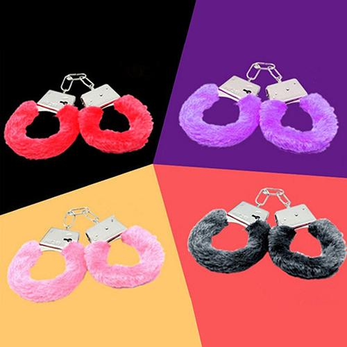 Stylish Furry Fuzzy Soft Metal Handcuff Night Party Role Play Adult Product Includes 2 Quick Release Locks For Escape Sex Toys