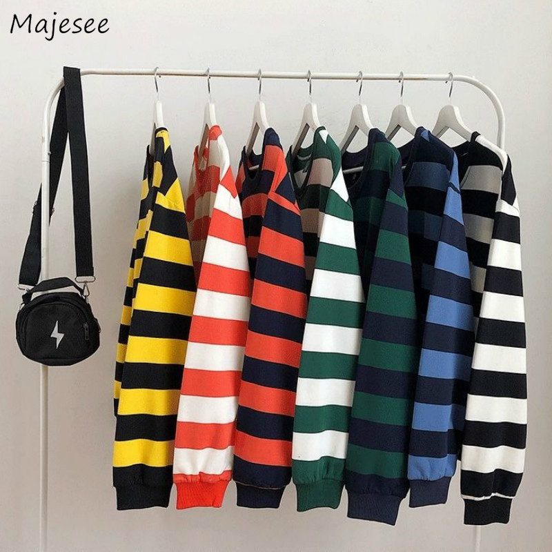Men Hoodies Striped Daily All-match Streetwear Korean Chic Sweatshirts Mens New Spring Pullovers Loose Ulzzang Couple Ins Shirt