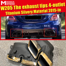 W205 Sport The exhaust tips 4-outlet Titanium Silver For MercedesMB C-Class C180 C200 C300 C400 C63 Look 15-in
