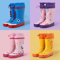 Cartoon Nette Dinosaurier Einhorn Kinder Regen Schuhe für Jungen Mädchen Wasserdichte Natürliche Gummi Nicht Slip Kleinkind Kinder Regen Stiefel