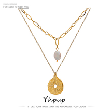 Pendant Necklace Pearl-Chain Statement Stainless-Steel Layered Yhpup Golden Women