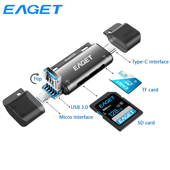 Eaget All In One Card Reader USB 3.0 Type C to SD Micro SD TF Card Adapter 4-In-1 OTG Memory Card Reader For Phone Computer EZ08