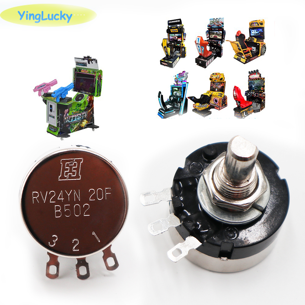 Yinglucky 5pcs / Lot RV24YN 20F 5K Round Potentiometer Racing Wheel Arcade Potentiometer Game Machine Parts