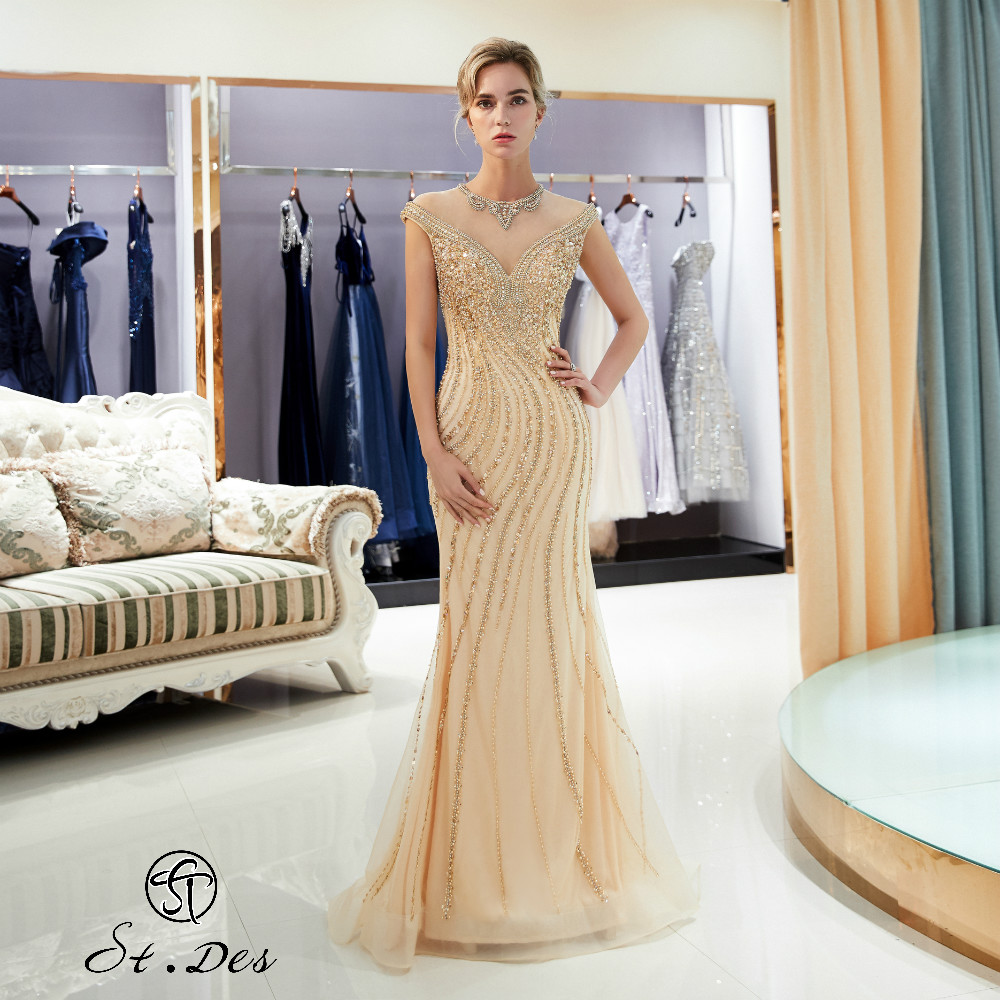 NEW 2020 St.Des Mermaid V-Neck Gold Beading Sleeveless Russian Floor Length Evening Dress Party Dress