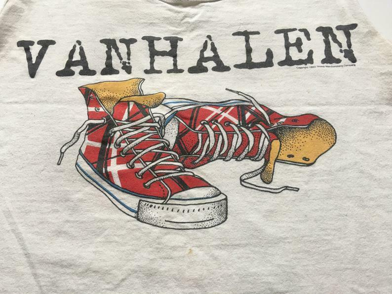 1993 Van Halen Right Here Right Now World Tour Thrashed Shirt Ab643