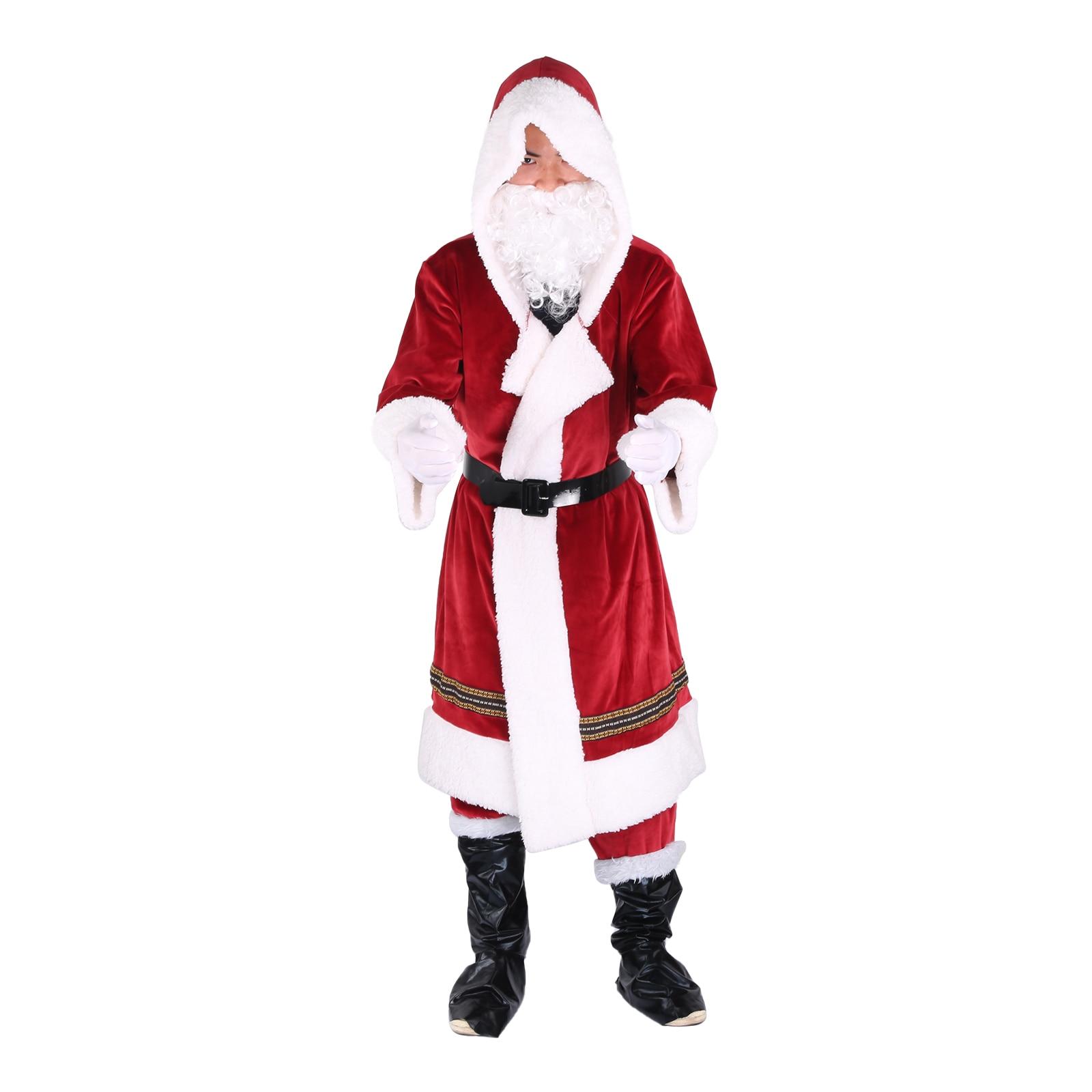 6PCS Christmas Santa Claus Costume Fancy Dress Adult Men Suits Cosplay Outfits