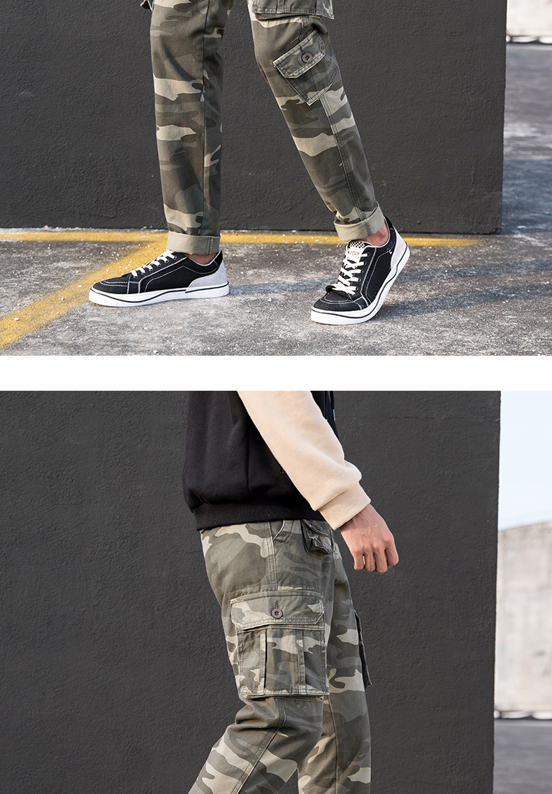 KSTUN Cargo Pants Men Straight Cut 100% Cotton Overalls Casual Pants Men Multi Pockets Camouflage Full Length Trousers Top Quality 21
