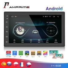 AMPrime 2 דין רכב רדיו אנדרואיד אוניברסלי GPS ניווט Bluetooth מגע מסך Wifi רכב אודיו סטריאו FM USB מולטימדיה לרכב MP5