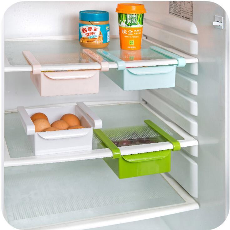 Resin Plastic Slide Kitchen Fridge Freezer Space Saver Organization Storage Rack Bathroom Shelf Refrigerator Storage Rack