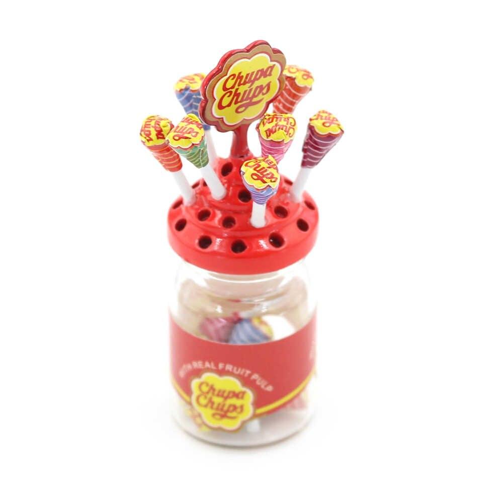 1:12 Miniatur Makanan Penutup Makanan Gula Mini Lolipop dengan Case Pemegang Permen untuk Rumah Boneka 1/12 Perabot Dapur Mainan Aksesoris