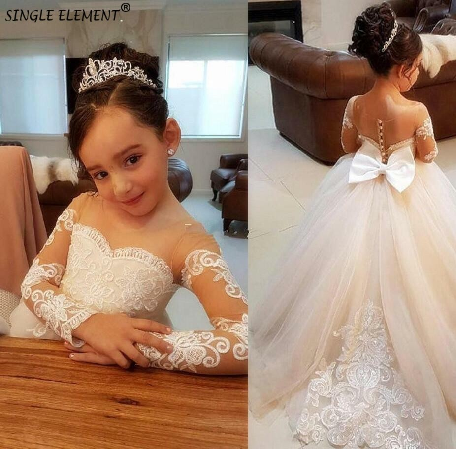 White   Flower     Girl     Dresses   Long Sleeve Bowknot Beauty Pageant Wedding Party