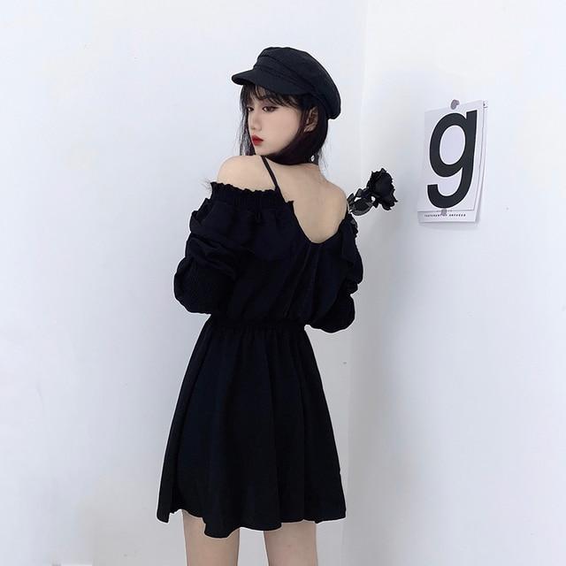 Women dress demon girl original black spring and autumn 2021 sexy high waist femme dress shoulder long sleeve gothic dress A085 3