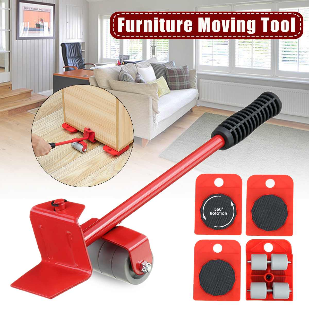 5 In 1 Furniture Mover Lifter Tool Set Furniture Transport Heavy Moving Tool Wheel Mover Roller Wheel Bar Hand Tools Set