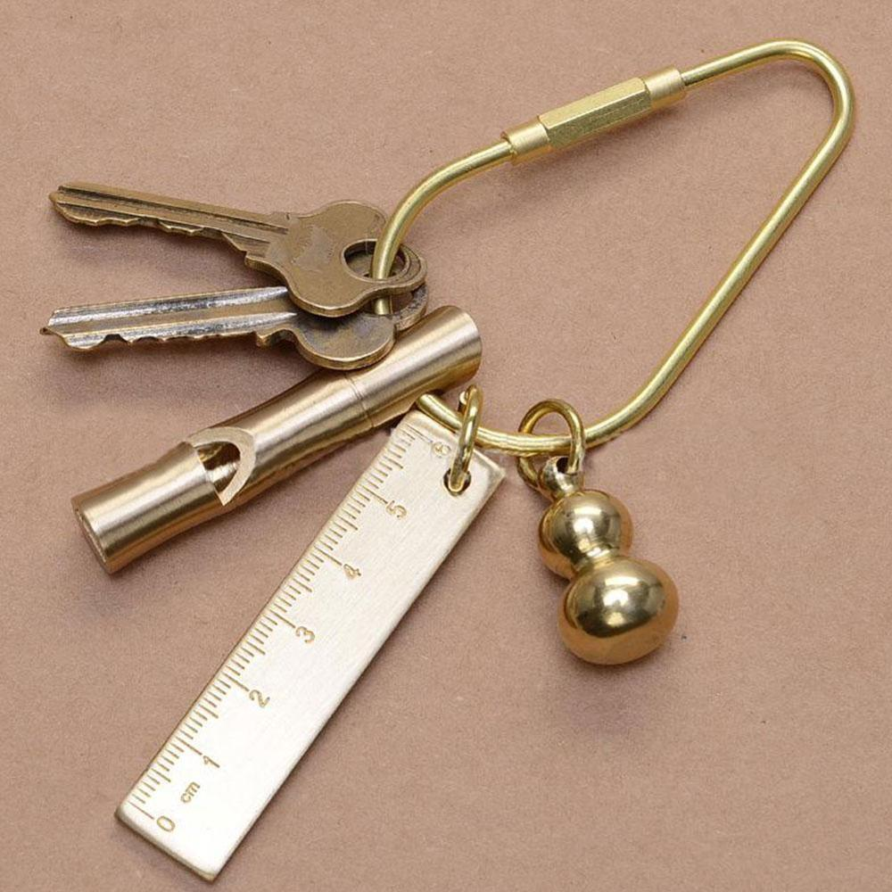 Creative Portable Brass Keychain Portable Unique DIY Craft Tools Whistle Ruler Key Ring Pendant Jewelry Keychain Accessories