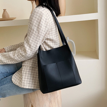 Fashion Large Capacity Women Tote Handbags Casual Solid Color  Shoulder Bags For Women Chic  Pu Leather Handbags Big Bucket Bag