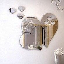 3D акриловые зеркальные наклейки на стену в форме сердца для кухни, ванной комнаты, зеркальные наклейки на стену, наклейки на стену, домашний декор для рукоделия