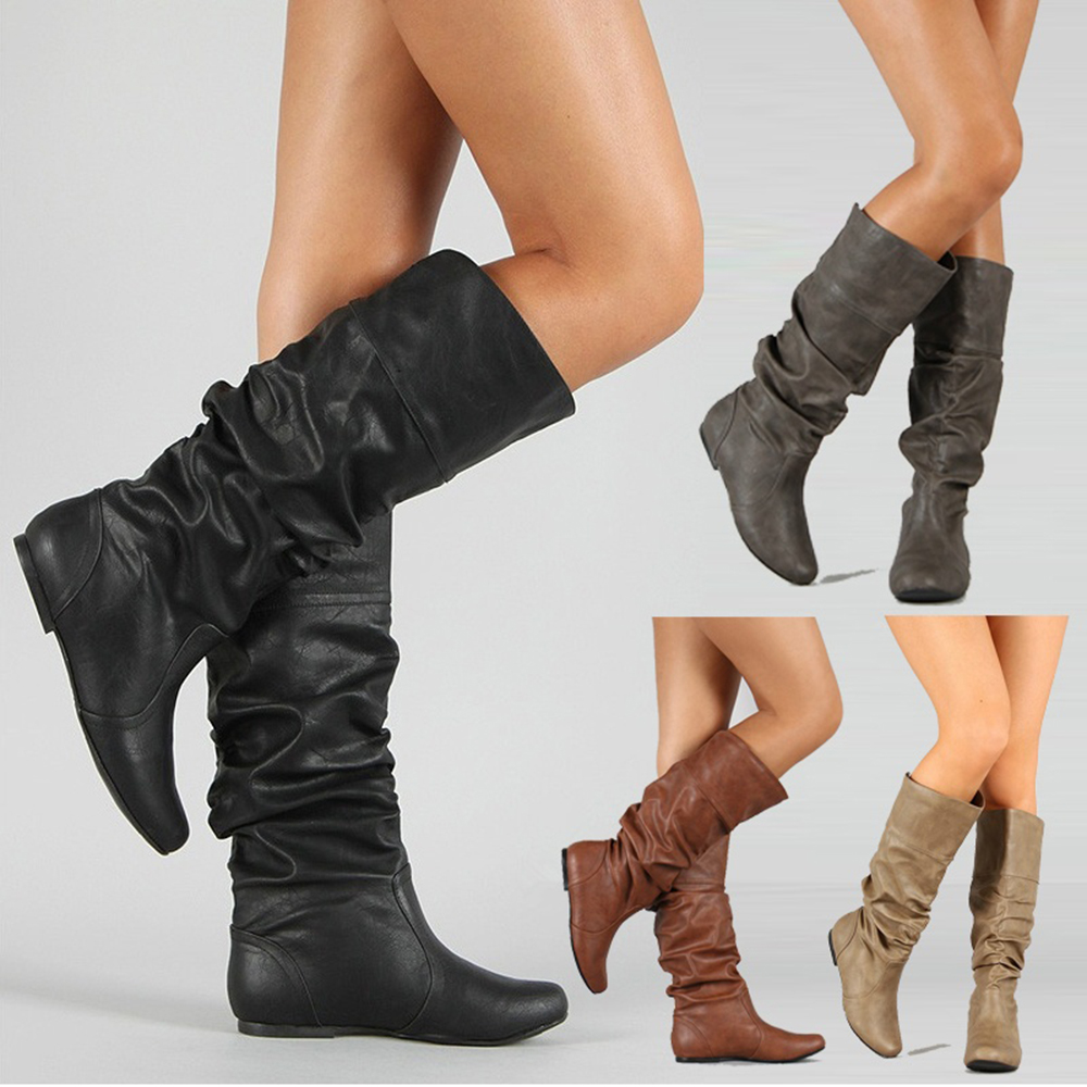 Women PU Leather Knee High Boots Solid Slip-On Flat Rain Boots Round Toe Fashion Autumn Ladies Shoes Size 34-43