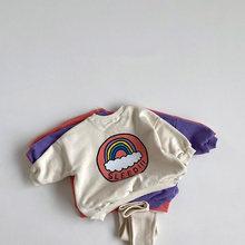 Milancel 2020 nova roupa do bebê arco-íris hoodies e leggings 2 pçs terno bebê coreano moda infantil outfit