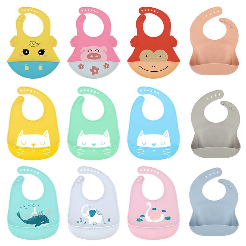 1 Pza babero de bebé de dibujos animados impermeable de silicona suave babero alimentación Saliva toalla elefante gato ballena Animal Bandana ajustable