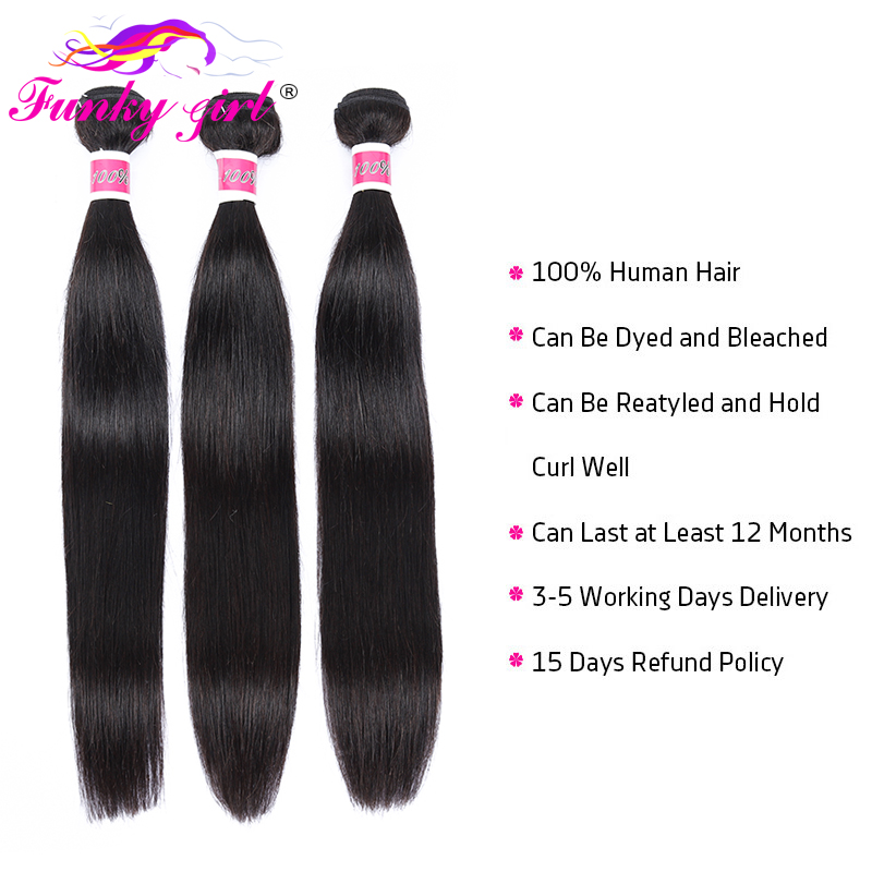 H75d4de1323c5417c9b41569db58898068 Funky Girl Malaysia Straight Ear To Ear Lace Frontal Closure With Bundles Human Hair Weave Non Remy Hair Extension 3/4 Bundles