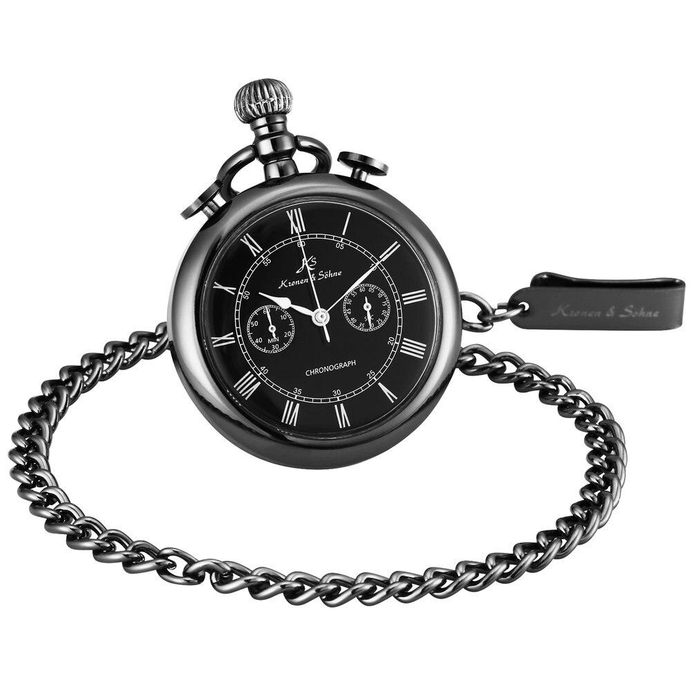KS Retro Black Fashion Silver Smooth Steampunk Quartz Pocket Watch Stainless Steel Pendant Chain Gift Box For Men Women Friend