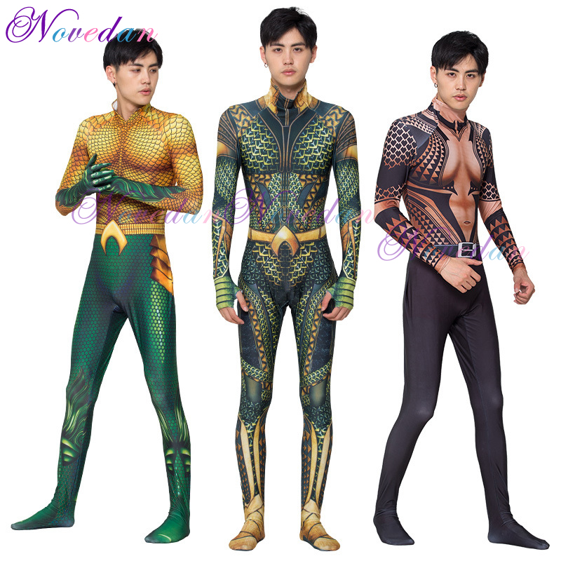 DC Aquaman Superhero Costume Golden Aquaman Cosplay Clothing Suit Adult Kids  Halloween Party Cosplay Costume