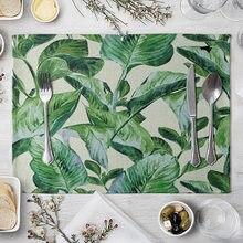 Mantel Individual pintado a mano, estampado de hojas verdes para mesas, aislamiento térmico, lino, almohadillas para comer, 1 Uds.