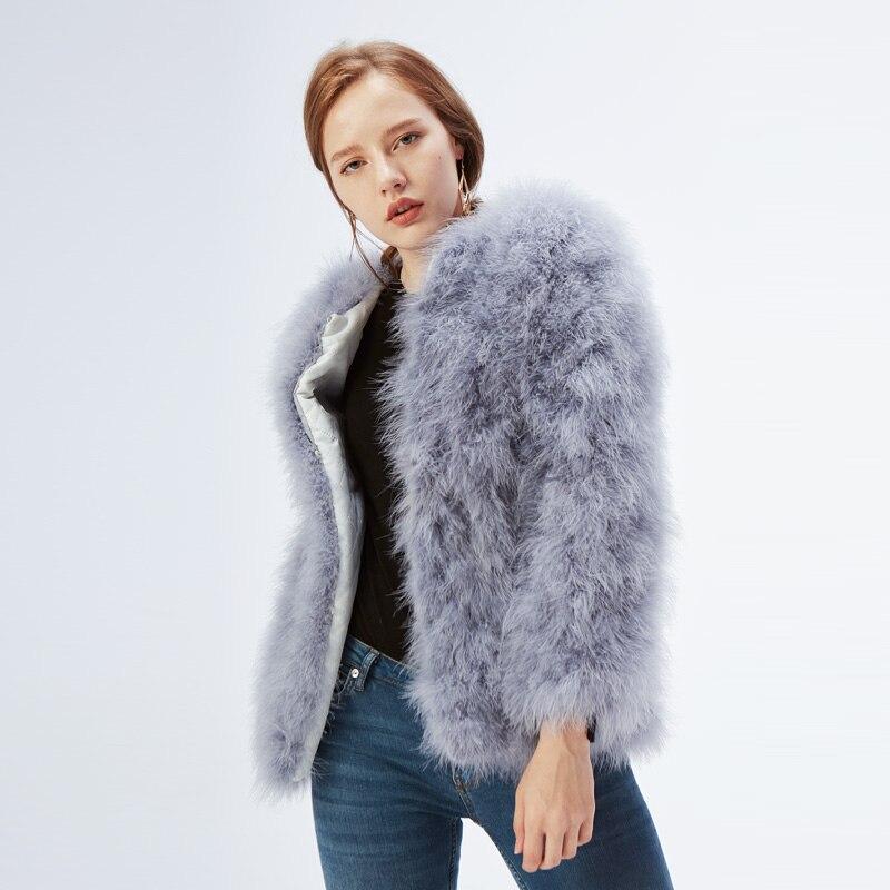 de pele de avestruz genuína pena casaco