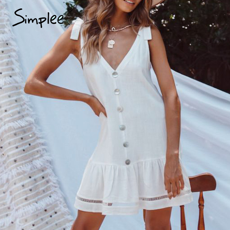 Simplee Women Solid White Dress Casual Sleeveless Hollow Out V Neck Summer Dress Loose Buttons Strap Bow Holiday Beach Dress