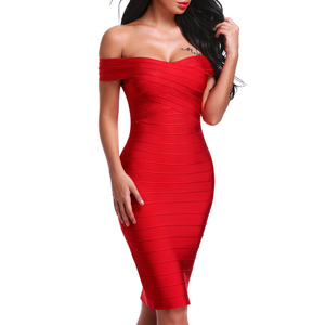 Image 4 - INDRESSME Sexy Off Shoulder Women Bandage Dress Elegant Slash Neck Knee Length Bodycon Backless Party Dress Vestidos 2020 New