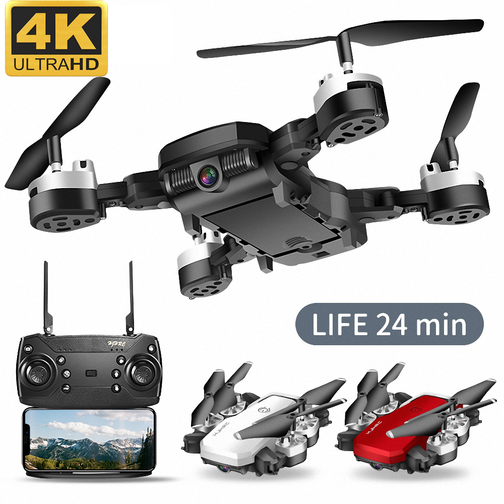 cheapest Lozenge HJ28 WIFI FPV Long Battery RC Drone Wide Angle Selfie Quadcopter Altitude Drone With Camera 4K Deone with Storage Bag